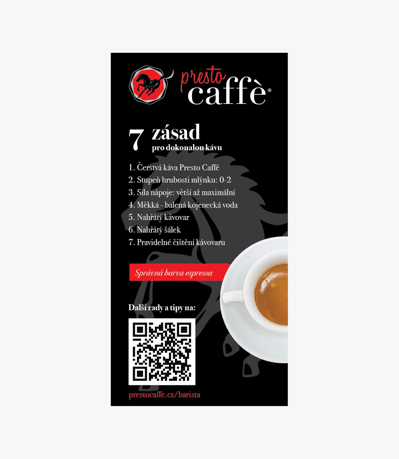 Presto Caffé - návod na přípravu kávy - nálepka
